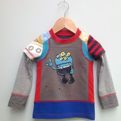 Upcycled Boys Tshirt sweet Alien Size 12 m up to 2 by dressme, $35.00