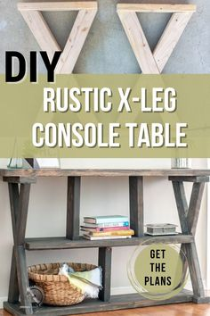 """""""Learn how to build an easy farmhouse style DIY X-leg console table with the full tutorial and plans using 2x4s and other construction lumber. #diyfurntiure #woodworking #AnikasDIYLife Kreg Jig Projects, Scrap Wood Projects, Woodworking Projects That Sell, Diy Furniture Projects, Woodworking Tips, Furniture Makers, Wood Projects For Beginners, Wood Working For Beginners, Easy Diy Projects"""