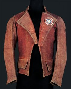 This carmagnole jacket was worn by the working class men around 1790-1800. These jackets were made of wool and were short. It resembles a blazer by today's standards. There jackets were worn by sans-culottes, which were counter-revolutionaries.
