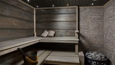 dark, but not too dark sauna Outdoor Sauna, Finnish Sauna, Spa Rooms, Log Homes, Jacuzzi, Saunas, My Dream Home, Home Projects, Home And Living