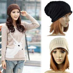 Unisex Wool Winter Crochet Knit Beanie Skullcap Hat