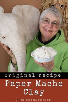 This easy recipe creates spreadable paper mache clay that replaces the mess of t. - This easy recipe creates spreadable paper mache clay that replaces the mess of traditional paper st - Paper Mache Paste, Paper Mache Clay, Paper Mache Sculpture, Paper Mache Flowers, Homemade Clay, Diy Clay, Clay Crafts, Paper Crafts, Paper Mache Crafts For Kids