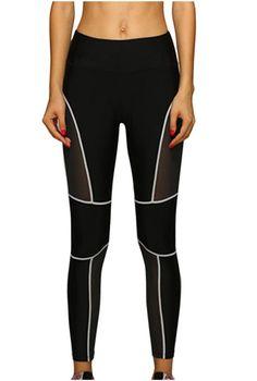 c205adc2c07b9 Lotsyle Women s Line Tights Mesh Panels Workout Sports Gym Yoga Leggings  Pants White-M.
