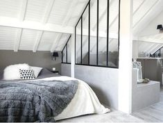 The interior canopy, a rich idea to separate two rooms without real partition or big jobs. In a living room, a kitchen, a bedroom, the glass roof invites Cosy Bedroom, Bedroom Loft, Master Bedroom, Master Suite, Bedroom Divider, Attic Bedrooms, Loft Room, Loft Spaces, My New Room