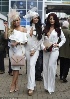 Here come the girls: Charlotte rounded up her close pals, Amanda Harrington and Jess Hayes for the day out