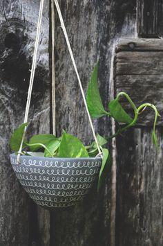 Made to Order // Curlicue Design Hanging Planter // Succulent Planter // Cactus Planter // Black + White Hanging Planter on Etsy, $32.00