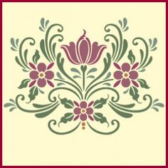 Rosemaling Pattern 16 -- Click through to buy this amazing home decor and crafting stencil from The Artful Stencil! US shipping in an average of 5 days. Ships all over the world.