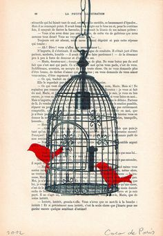 Birdcage with 2 birds - Original Illustration-Art Print-Art Poster- Hand Painting Mixed Media- French 1920 Vintage Paper. $10.00, via Etsy.