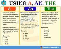 Definite and Indefinite Articles: Using A, An, The in English - English Study Online Articles In English Grammar, English Grammar Games, Article Grammar, English Writing Skills, Learn English Grammar, English Vocabulary Words, Learn English Words, English Phrases, Grammar And Vocabulary