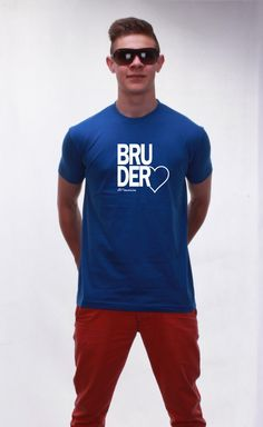 T-Shirt Bruderherz royal blue - knopfgelb onlineshop