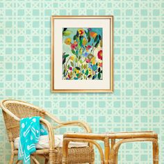 Royal Design Studio Stencil - Rattan Wallpaper Bari J Wall Stencil