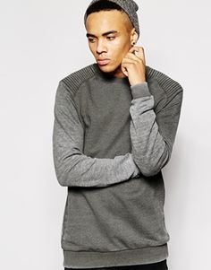 ASOS Longline Sweatshirt With Burn Out And Quilted Shoulder Panels