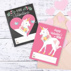 Unicorn Valentines Day Cards printable DIY card by crazyfoxpaper