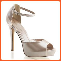 2834d367ce68 Fabulicious Lumina 45 Champagne Patent Closed Back Open Toe Ankle Strap  D orsay