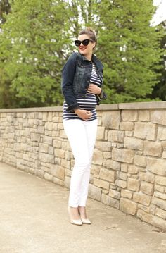 Stripes, Maternity Oufit, Pregnancy Style, 23 Weeks, White Maternity Jeans, @Jessica Quirk | What I Wore