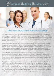 Pulmonology Residency Personal Statement Sample  Internal Medical