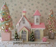 Adorable glittered putz house and bottle brush trees