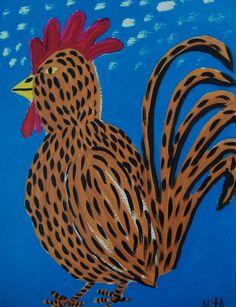 Big Chicken  Original outsider folk art Painting by NitA. $19.00, via Etsy.