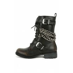 Wild Diva Timberly-119 Chain Combat Boots BLACK $31.90