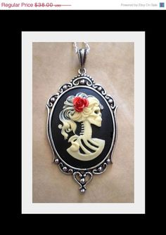 Gothic Skeleton Cameo Necklace - Ivory Lolita Zombie by couturebylolita on Etsy