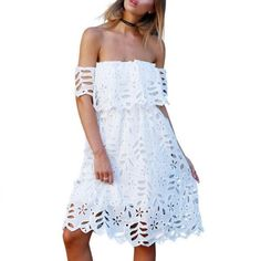 White Off Shoulder Floral Lace Women Summer Mini Dress