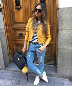 8 biker jacket jacket yellow zara www. - Outfits I love - Jackets Yellow Jacket Outfit, Biker Jacket Outfit, Leather Jacket Outfits, Sunday Outfits, Spring Outfits, Casual Outfits, Cute Outfits, Fashion Outfits, Fashion News