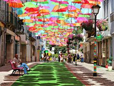 canopy of beautiful umbrellas. agueda, portugal