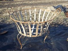 Wrought Iron Short Round Planter - Plant Stand - Pot Holder Wrought Iron Flower Plant Stands Top of the handle to the floor is 19 . The rim to the Planter Ideas, Planters, Plant Stands, Cactus Y Suculentas, Rustic Gardens, Plant Holders, Wrought Iron, Curb Appeal, Planting Flowers