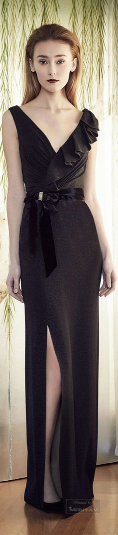 Jenny Packham Pre-Fall 2015. This is like the female version of a James Bond outfit. Style, class, effortless sex appeal, black, and flexible. I like the one ruffled shoulder detailing, the subtle, yet needed split up the leg, and of course, the silky bow around the waist is a definite must have.