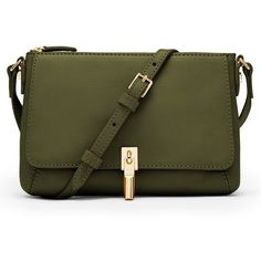 Elizabeth and James 'Micro Cynnie' Leather Crossbody Bag (€260) ❤ liked on Polyvore featuring bags, handbags, shoulder bags, olive, leather crossbody, olive green handbag, olive green purse, leather crossbody handbags and shoulder strap bag