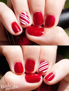red polish with one candy cane striped nail. I like this much better than the pattern on every single one!