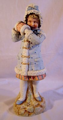 Large 12 Antique Heubach Piano Baby Figurine Muff Girl Germany Bisque Porcelain | eBay