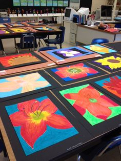 Flowers, oil pastel on paper, grade 4