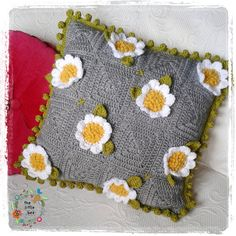 Crochet Cushion Pattern Crazy Daisy Instant by TheLittleBeeNZ