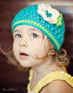 Textured Baby Beanie Turquoise Lime Beanie by AdorablyHooked