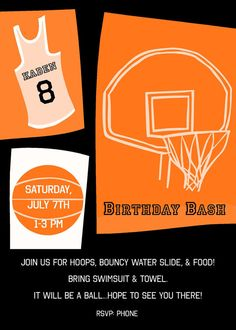 Basketball Party Invite by birthdayboutique1 on Etsy, $9.00