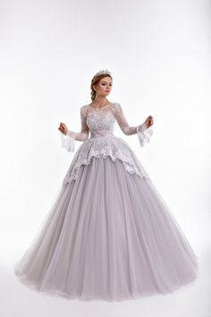 SALVIA Princess of the tulle dress with peplum of lace
