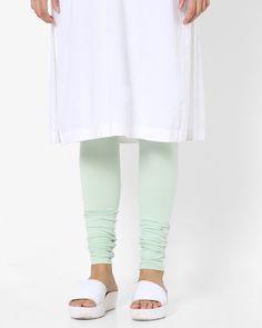 b1641d098410f1 Buy AJIO Women Sea Green Churidar Leggings with Elasticated Waistband | AJIO
