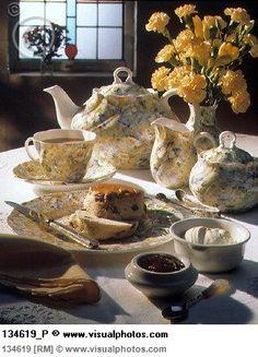 English tea scene, raisin scones, jam and clotted cream [134619]