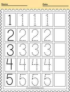 Free Printable Kindergarten Math Worksheets - Counting Number for Kids  #KindergartenMathWorksheets Traceable Numbers Worksheet for Kindergarten #worksheets #printableworksheets #kids #education #kindergarten #worksheetsforkindergarten #freeprintableworksheets