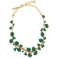 Oscar de la Renta Gold-Plated Crystal Branch Necklace ($800) ❤ liked on Polyvore featuring jewelry, necklaces, green, green necklace, lobster clasp charms, charm necklace, oscar de la renta and crystal necklace