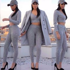 Cassidy Grey Leggings and Crop Top Set