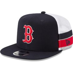9aaf3bd17d2 Men s Boston Red Sox New Era Navy Striped Side Lineup 9FIFTY Adjustable Hat