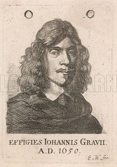 Greaves, John (1602-1652), author of A discourse of the Romane foot and denarius, from whence, as from two principles, the measures and weights, used by the Ancients, may be deduced, London, 1647; engraving 1650