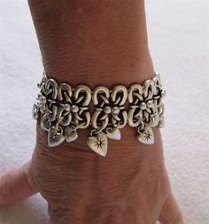 Fossil Global Heart Charm Bracelet Crystal Accents STRETCH NWT $54 CLEARANCE  I love this idea for a charm bracelet