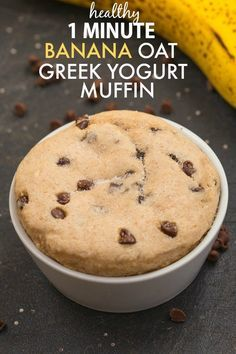 Healthy Flourless 1 Minute Greek Yogurt Banana Oat Muffin- Quick, easy and SO delicious with NO oil, butter, flour or sugar! {vegan, gluten free, dairy free, sugar free recipe}- thebigmansworld.com