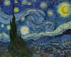 """Did you know that scientists have discovered that #VanGogh's painting    Starry Night    (June 1889 #MoMA) closely resembles the mathematical structure of """"turbulent flow?"""" In the simplest terms turbulent flow in fluid dynamics is composed of eddies that generate smaller eddies that give way to even smaller eddies much like water flowing around a rock in a river OR like the swirling sky depicted in Van Gogh's #StarryNight. Researchers digitized """"Starry Night"""" and measured how brightness…"""