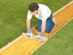 How to Lay a Brick Pathway : Home Improvement : DIY Network.reminds me of the yellow brick road.AKA wizard of OZ Brick Pathway, Paver Walkway, Gravel Pathway, Garden Paving, Pea Gravel, Brick Laying, Laying Pavers, Diy Network, Outdoor Projects