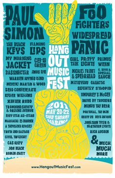 Concert poster for The Hangout Music Fest featuring Paul Simon, Widespread Panic, The Foo Fighters and many more in Gulf Shores, AL in 11 X 17 inches. Rock Posters, Band Posters, Musikfestival Poster, Poster Prints, Poster Ideas, Poster Designs, Festival Posters, Concert Posters, Indie Festival