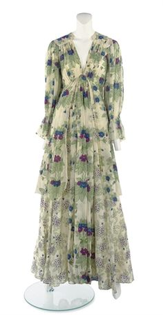 OSSIE CLARK (1942-1996) & CELIA BIRTWELL (B.1941) A LONG-SLEEVED DAY DRESS early 1970s, tiered skirts, chiffon with Birtwell print, with designer's label
